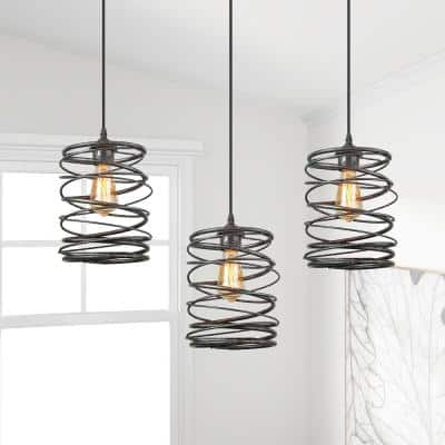 Farmhouse Pendant Lighting, Industrial 1-Light Mottled Black Mini Pendant Chandelier, Cage Kitchen Light Fixture