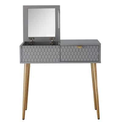 32 in. Gray Dressing Vanity with Mirror