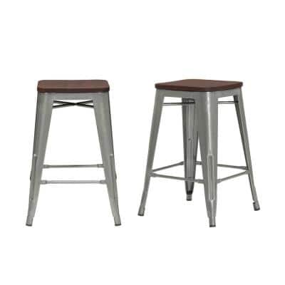 Finwick Gunmetal Gray Metal Backless Counter Stool with Wood Seat (Set of 2) (16.54 in. W x 23.62 in. H)