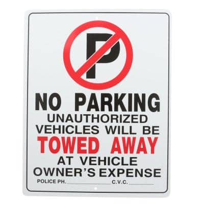 15 in. x 19 in. Plastic No Parking Sign