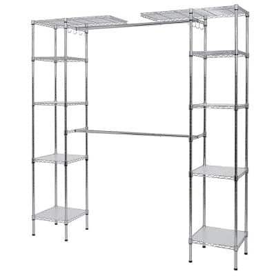 14 in. D x 55 in. W x 72 in. H Chrome Wire 10-Shelves 2-Hanger Bars Room Steel Closet System Organizer