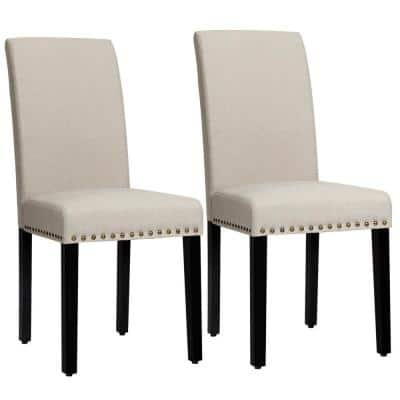 Celadon Fabric Dining Chairs Parsons Chair with Nailhead Trim and Wood Legs (Set of 2)