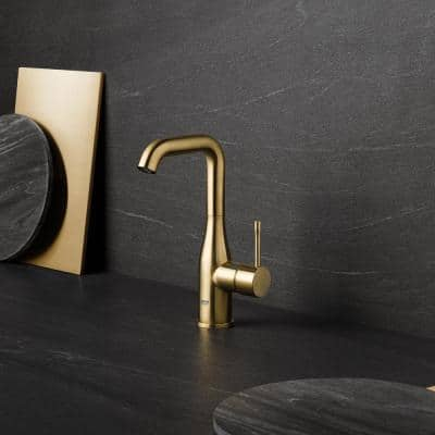 Essence L-Size Single Hole Single-Handle Bathroom Faucet with Temperature Limiter in Brushed Cool Sunrise