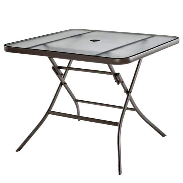 Stylewell Mix And Match Steel Folding Glass Outdoor Patio Dining Table Fts01201s The Home Depot