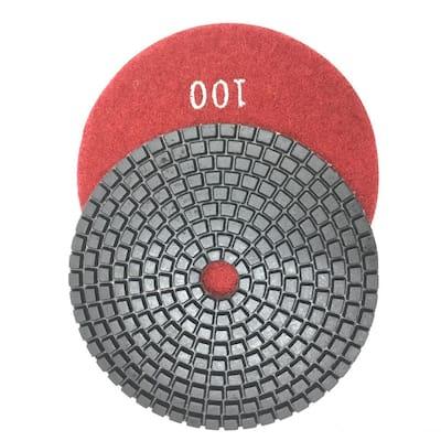 4 in. 100-Grit JHX Wet Diamond Polishing Pads for Granite/Concrete (Box of 10)