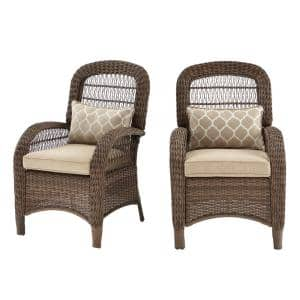 Beacon Park Brown Wicker Outdoor Patio Captain Dining Chair with CushionGuard Toffee Trellis Tan Cushions
