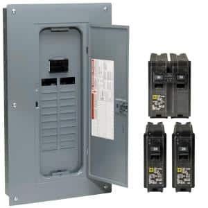 Homeline 100 Amp 20-Space 40-Circuit Indoor Main Breaker Qwik-Grip Plug-On Neutral Load Center with Cover - Value Pack