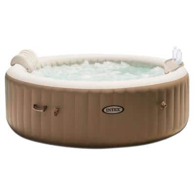 PureSpa 4 Person Inflatable Jet Spa Hot Tub with Drink Tray and Headrest