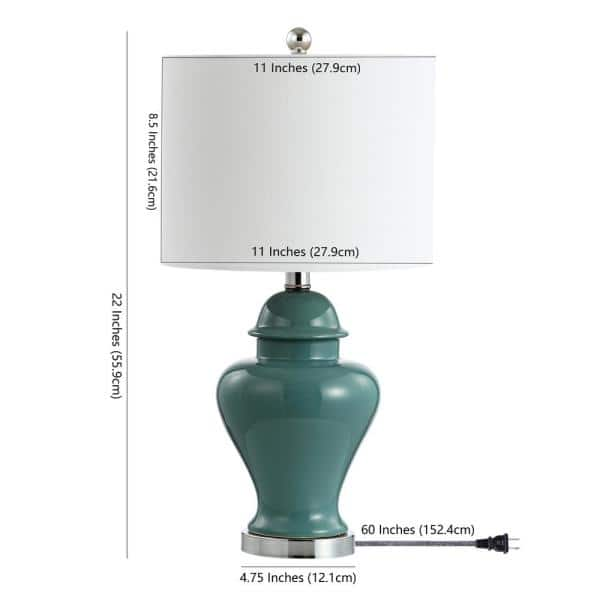 Jonathan Y Qin 22 In Jade Green Ceramic Iron Classic Cottage Led Table Lamp Jyl6602a Set2 The Home Depot
