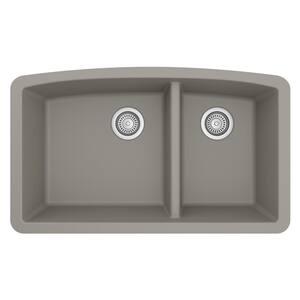 Undermount Quartz Composite 32 in. 60/40 Double Bowl Kitchen Sink in Concrete
