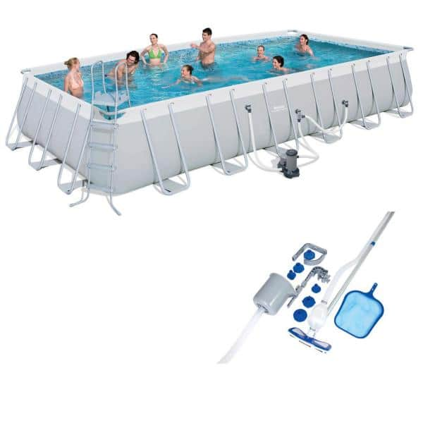Bestway 24 Ft X 12 Ft Rectangle Deep Hard Side Pool Set With Pool Vacuum And Maintenance Accessories Kit 56542e Bw 58237e Bw The Home Depot
