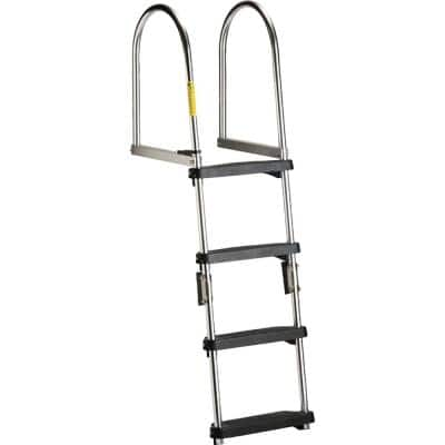 Premium 4 Step Folding Pontoon Transom Boarding Ladder
