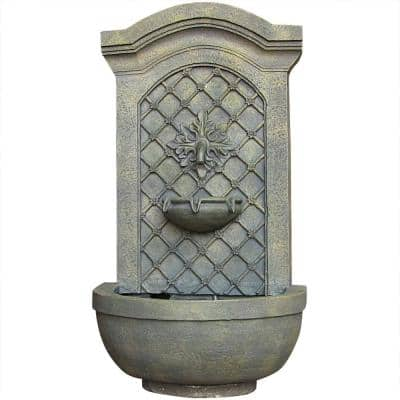 Rosette Resin French Limestone Solar-On-Demand Outdoor Wall Fountain