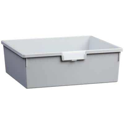 8 Gal. 6 in. Wide Line Double Depth Storage Tote in Light Gray