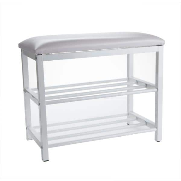 Mind Reader 12 5 In X 20 In X 24 In X 3 Tier Shoe Bench For 4 6 Pairs Shoe Organizer Storage Shelf With Cushion For Sitting White Shoeben3t Wht The Home Depot