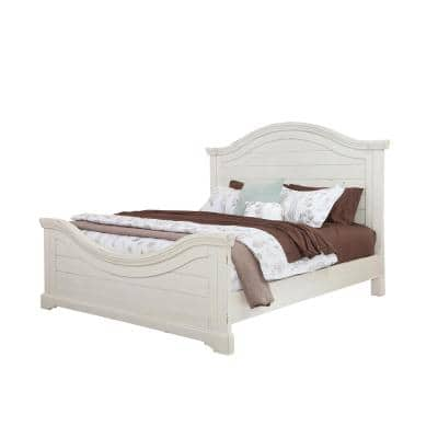 Stonebrook Antiqued White Queen Panel Bed