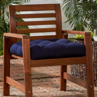 Solid Navy Sunbrella Fabric Square Tufted Outdoor Seat Cushion