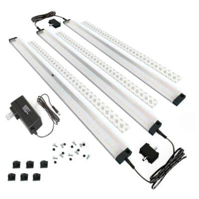 20 in. LED 6000K Black Under Cabinet Lighting, Dimmable Hand Wave Activated (3-Pack)