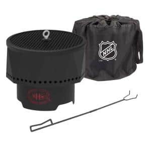 The Ridge NHL 15.7 in. x 12.5 in. Round Steel Wood Pellet Portable Fire Pit with Spark Screen, Poker Montreal Canadiens