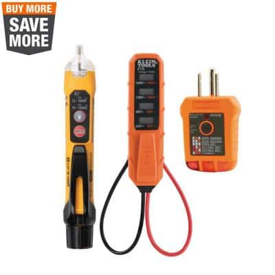 3-Piece AC/DC Voltage Tester, Non-Contact Voltage Tester and Outlet Tester Tool Set