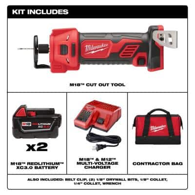 M18 18-Volt Lithium-Ion Cordless Rotary Cut Out Tool Kit with Two 3.0 Ah Batteries, Charger and Tool Bag