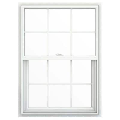 29.5 in. x 41.5 in. V-2500 Series White Vinyl Single Hung Window with Colonial Grids/Grilles