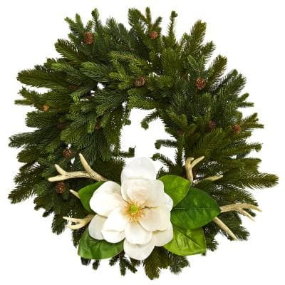 22 in. Pine Pinecone Magnolia and Antler Artificial Wreath
