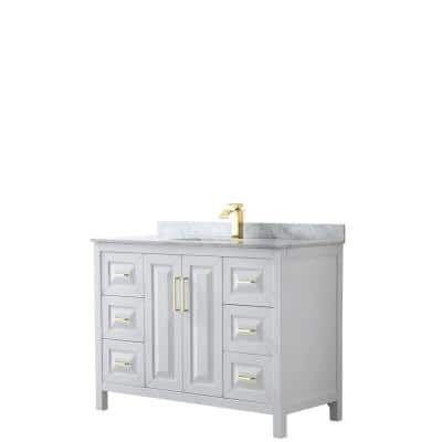 Daria 48 in. W x 22 in. D x 35.75 in. H Single Sink Bath Vanity in White with White Carrara Marble Top