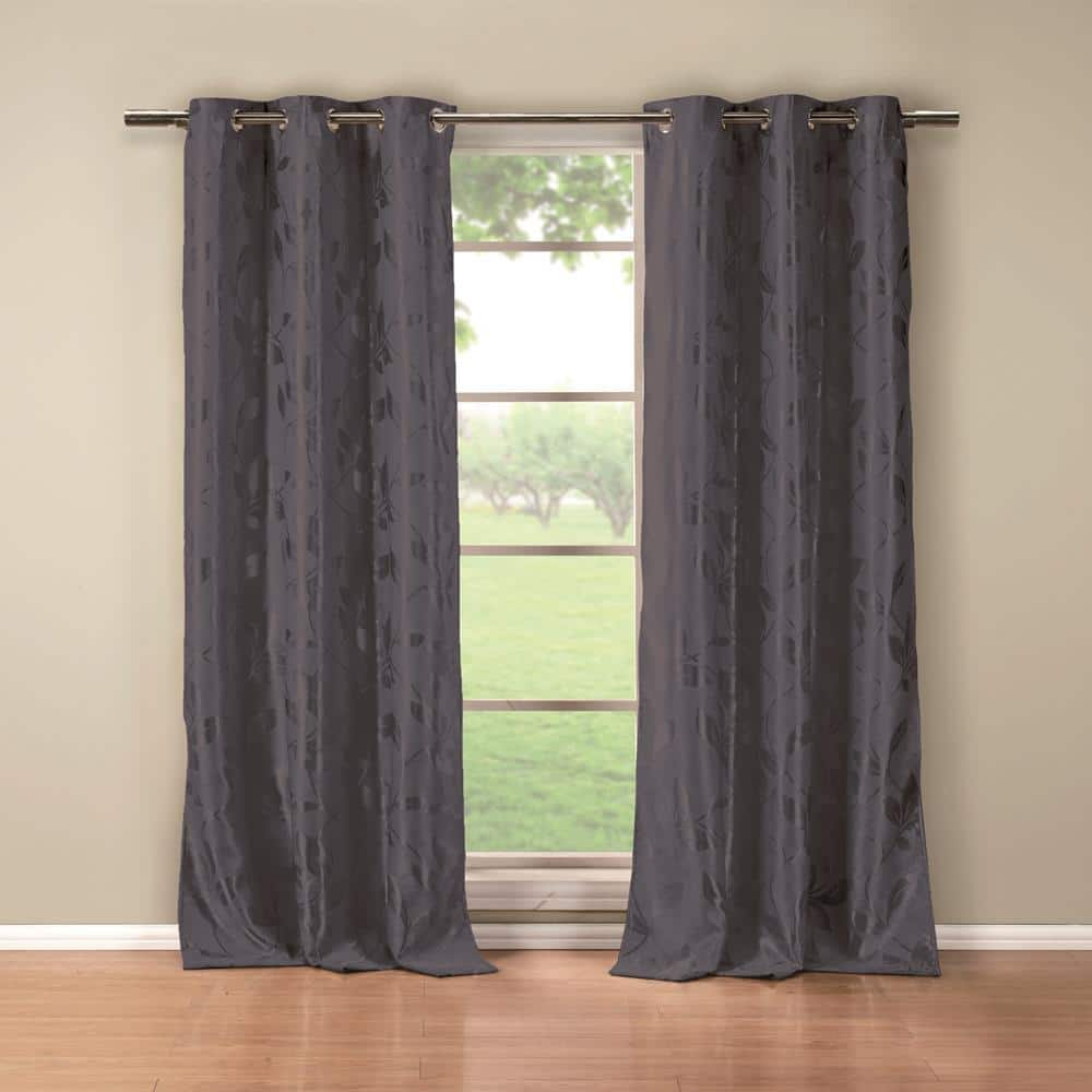Duck River Blue Floral Thermal Blackout Curtain 36 In W X 84 In L Set Of 2 Blair 10078 12 The Home Depot