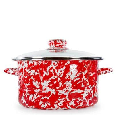 Red Swirl 6 qt. Enamelware Stock Pot with Glass Lid