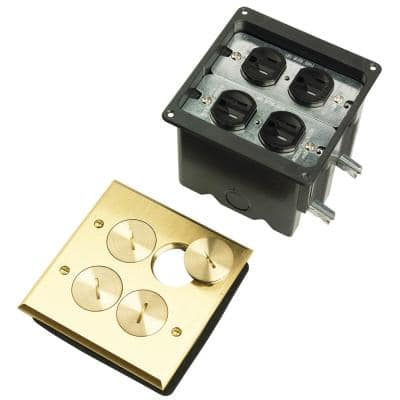 Pass & Seymour Slater Brass 2-Gang Floor Box with Tamper-Resistant Outlets for Wood Sub-Floors