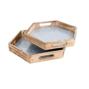 16.5 in. 2-Pieces White Natural Wood Hexagon Nesting Food Serving Trays with Easy-Grasp Cutout Handles