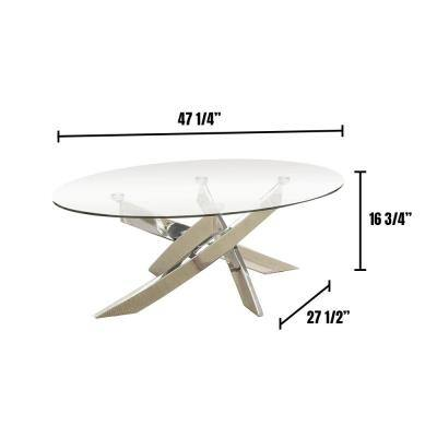 Laila 48 in. Clear/Chrome Large Oval Glass Coffee Table