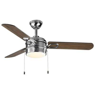 Stillmore 52 in. Integrated LED Chrome Smart Ceiling Fan with Light and Remote - Works with Google Assistant and Alexa