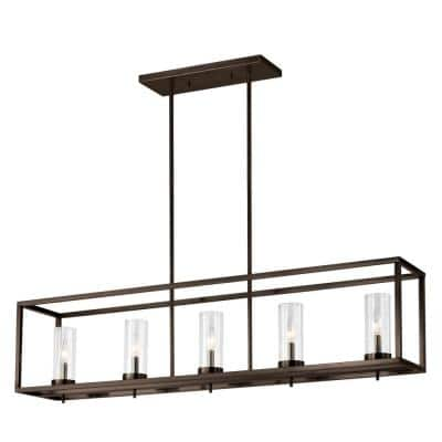 Zire 5-Light Brushed Oil Rubbed Bronze Island Pendant with Clear Glass Shades with Dimmable Candelabra LED Bulb