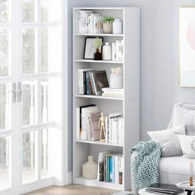 71.2 in. White Wood 5-shelf Standard Bookcase with Adjustable Shelves