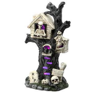 15 in. Halloween Tree Holding Skull and RIP Tombstone with Multi-Color LED Light