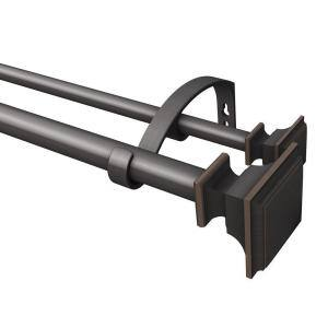 72 in. - 144 in. Double Curtain Rod in Oil Rubbed Bronze with Square Finial