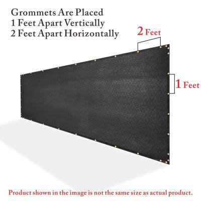 6 ft. x 50 ft. Heavy-Duty PLUS Black Privacy Fence Screen Mesh Fabric with Extra-Reinforced Grommets for Garden Fence