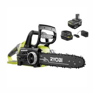 ONE+ 12 in. 18-Volt Brushless Lithium-Ion Electric Cordless Chainsaw 4.0 Ah Battery and Charger Included