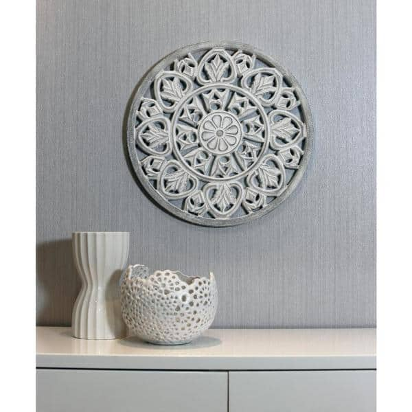 Arthouse White Washed Wooden Medallion Wall Art 5218 The Home Depot