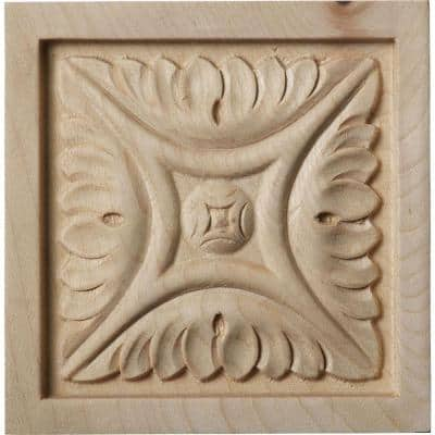 3/4 in. x 3-1/2 in. x 3-1/2 in. Unfinished Wood Maple Medium Middlesbrough Rosette