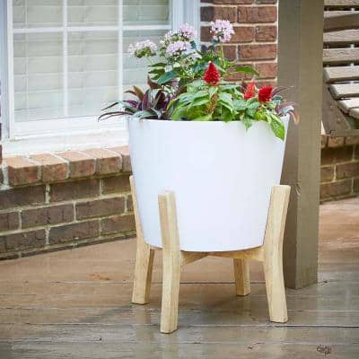 Contemporary 16 in. x 19.87 in. White Resin Composite Planter with Wood Stand