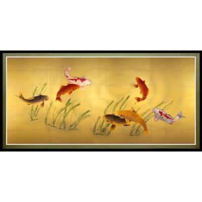 """18 in. x 35 in. """"Seven Lucky Fish"""" Canvas Wall Art"""