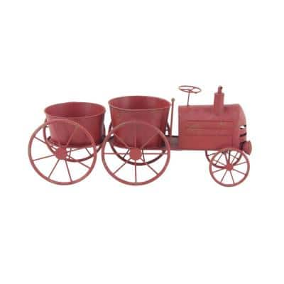 Rustic 10 in. x 22 in. Red Iron Train Planter