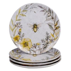Bee Sweet 4-Piece Seasonal Multicolored Earthenware 10.75 in. Dinner Plate Set (Service for 4)