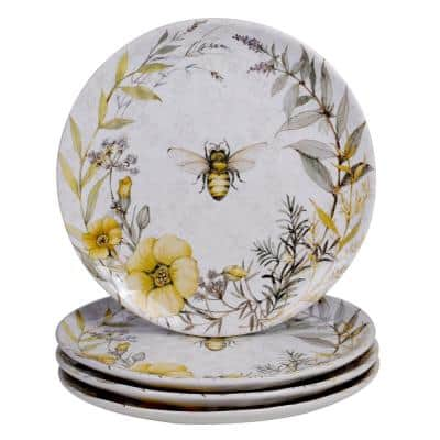 Bee Sweet 4-Piece Seasonal Multicolored Earthenware 10.75 in. Dinner Plate Set (Service for 4)