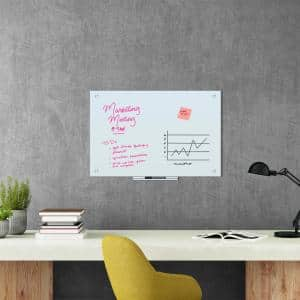 35 in. x 23 in. White Frosted Surface Frameless Glass Dry Erase Board