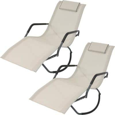 Beige Folding Rocking Sling Outdoor Lounge Chair with Pillow (Set of 2)