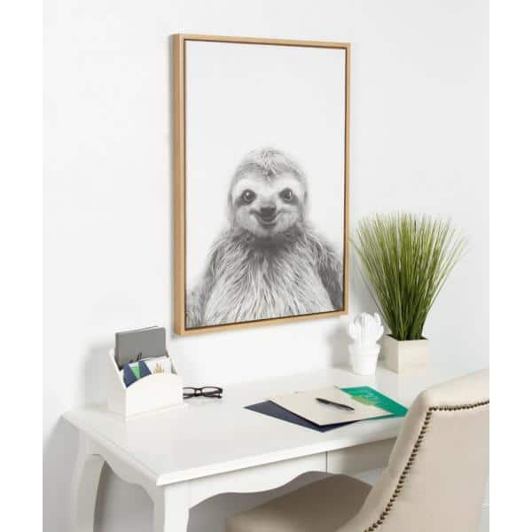 Black /& White Sloth Portrait Framed Canvas Wall Art Picture Home Decor Display
